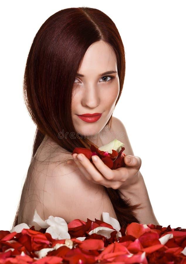 Download Beautiful Woman And Rose Petals Stock Photo - Image: 20063016