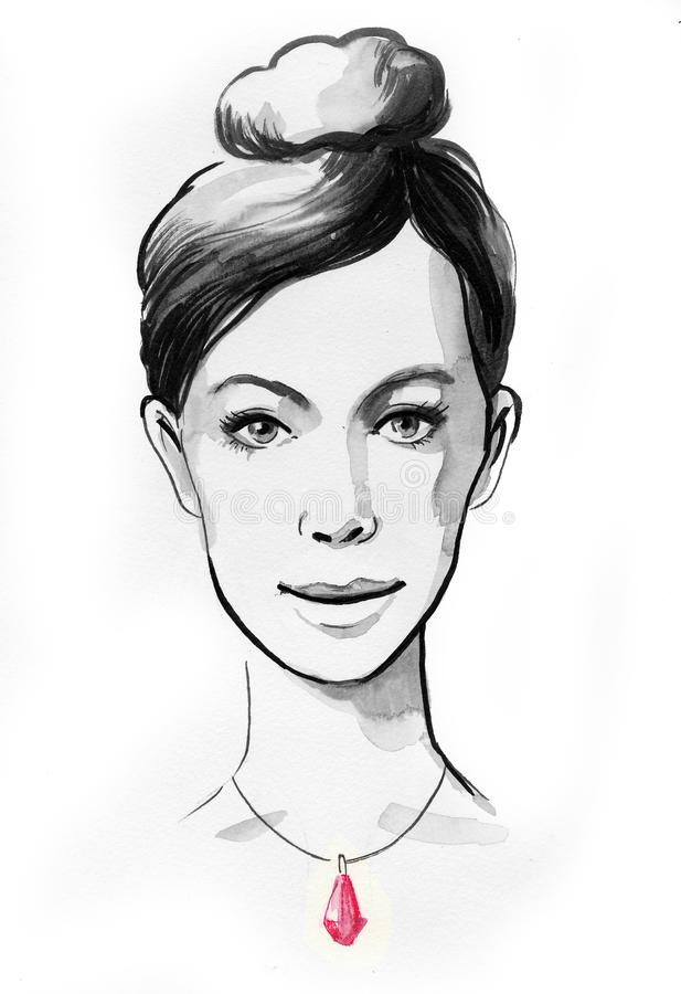 Beautiful woman with a ruby necklace. Pretty female with a ruby necklace. Ink black and white illustration royalty free illustration
