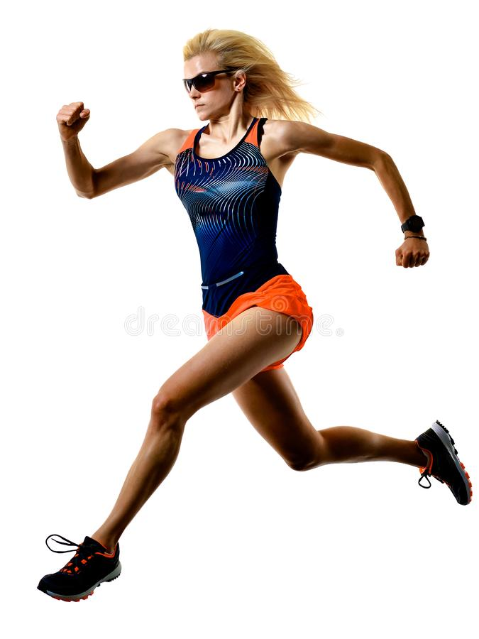 Beautiful woman runner jogger jogging running isolated white background stock photos