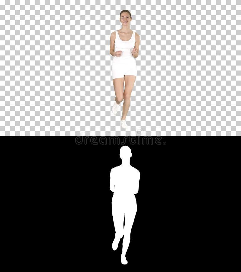 Beautiful woman running, Alpha Channel stock image