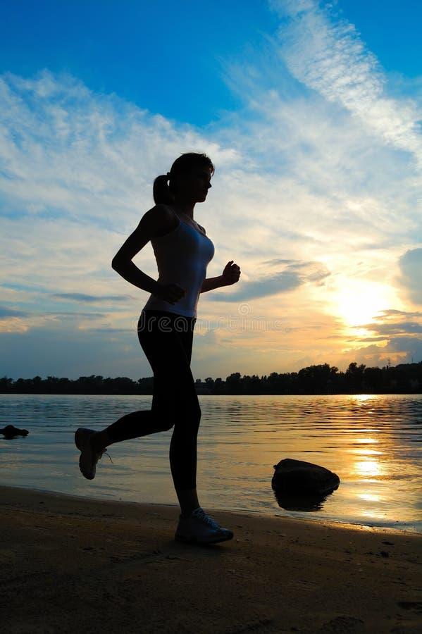 Download Beautiful Woman Running On Sunset Stock Illustration - Illustration: 20074747