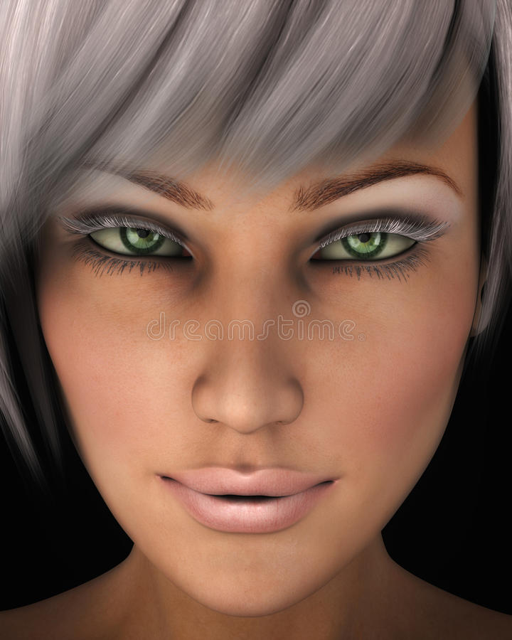 Beautiful Woman s Face Close-up Illustration