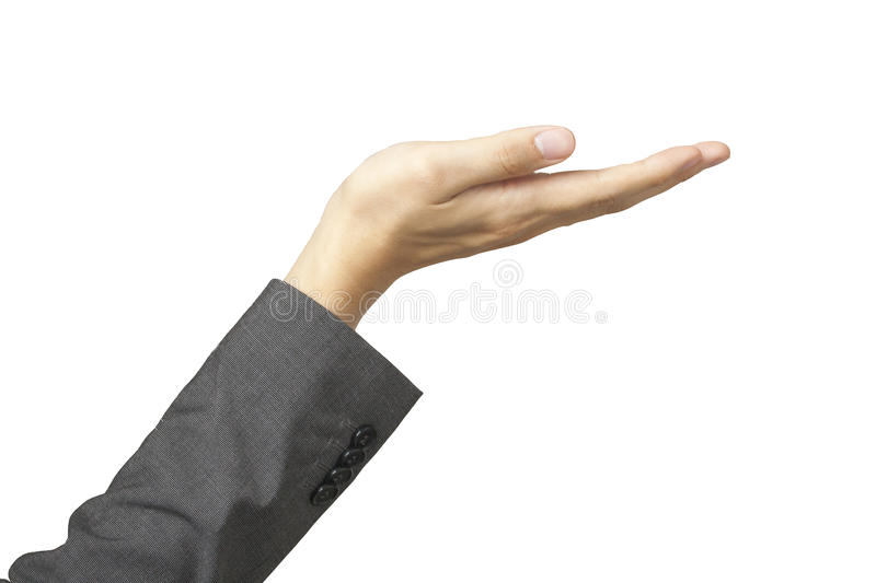 Beautiful woman's hand in business suit sleeves and palm up royalty free stock photo