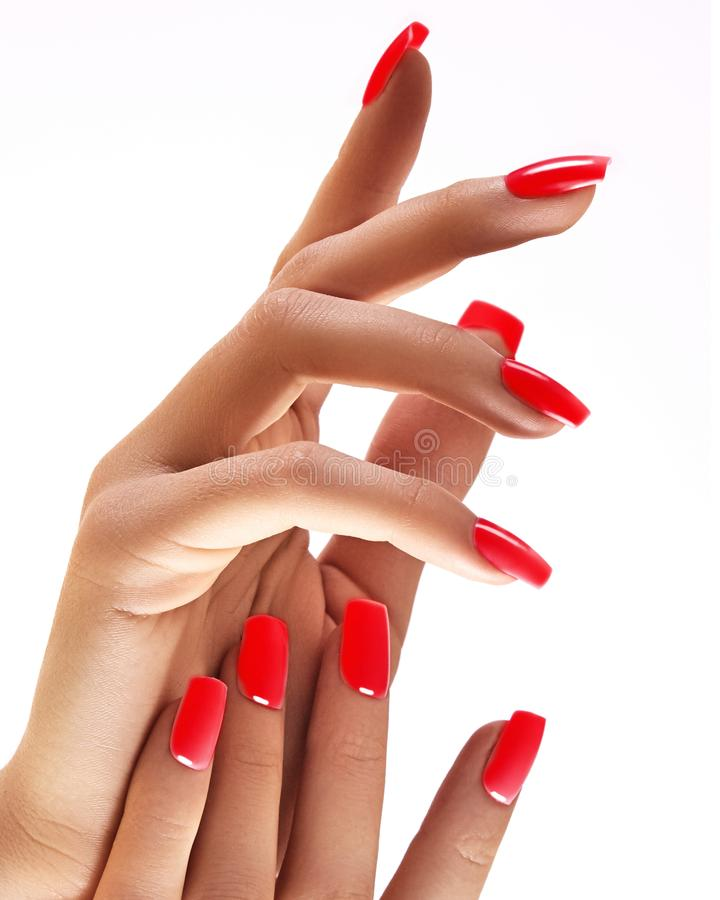 Beautiful woman`s hands on light background. Care about hand. Redl manicure, clean skin. Bright nails with polish. On white background royalty free stock image