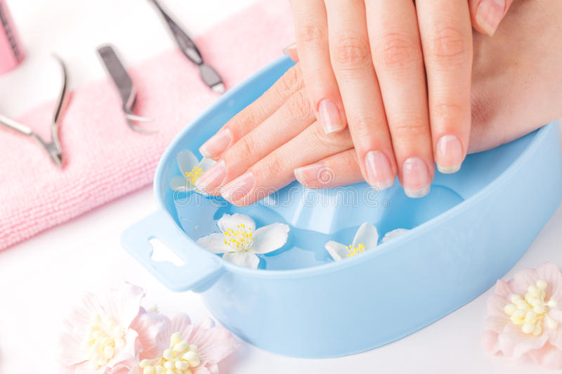 Beautiful woman`s hands with manicure in bowl of water. Studio shot royalty free stock photo