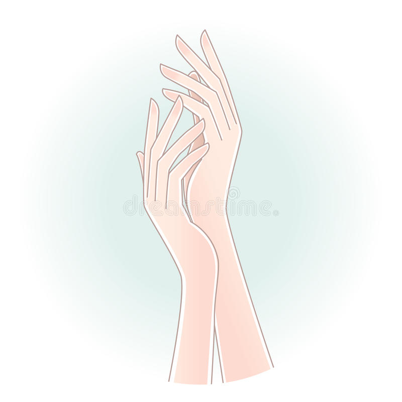 Beautiful woman s hands on pale blue background