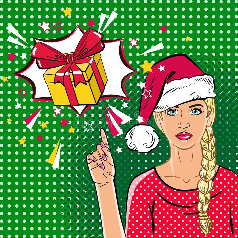 Beautiful woman in Santa Claus hat in the pop art comics style. The girl dreams of a gift. stock illustration