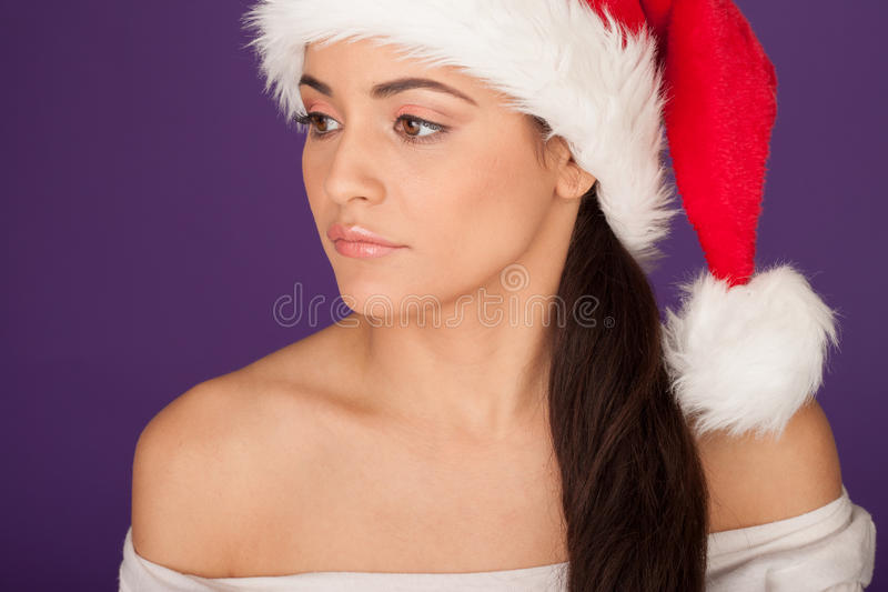 Download Beautiful Woman In A Santa Hat Stock Image - Image: 27090961