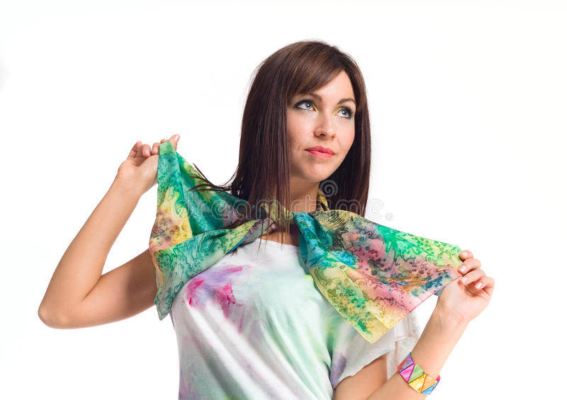 Beautiful woman in scarf posing stock photo
