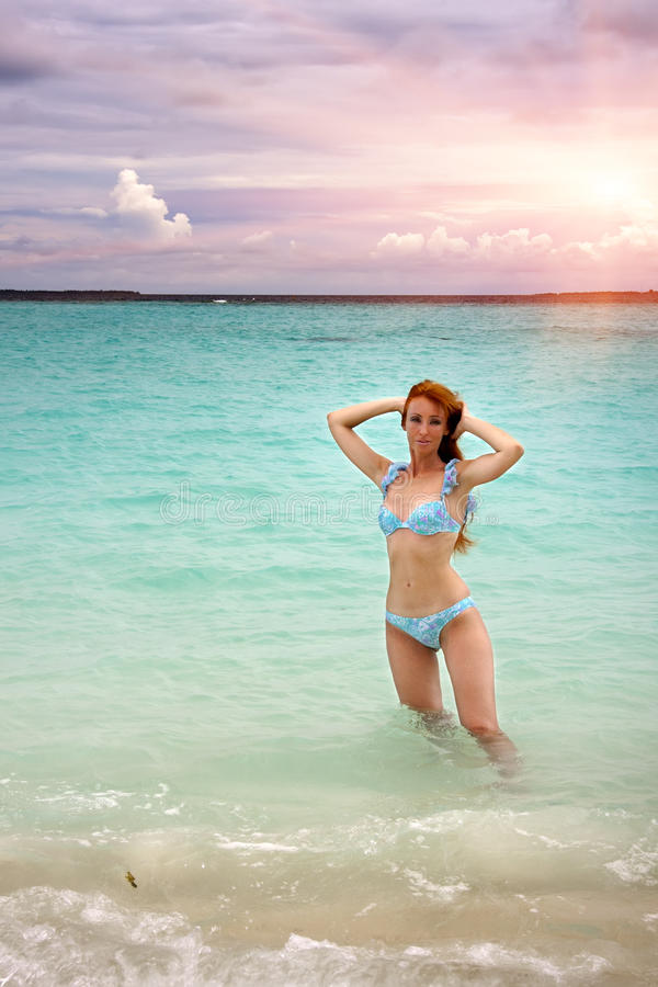 The beautiful woman in the sea.  stock images