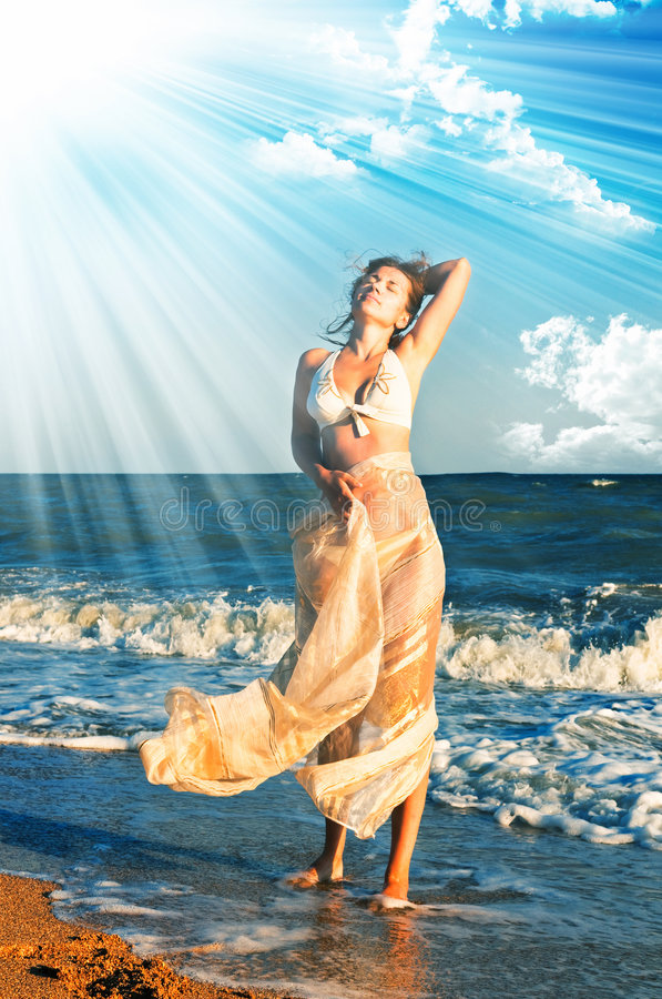 Beautiful Woman In A Sea Royalty Free Stock Images