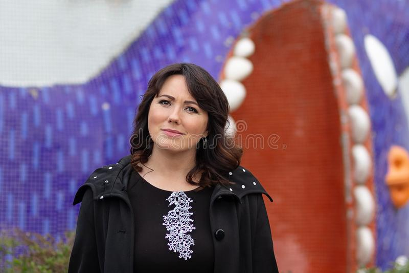 Beautiful woman with a serious look royalty free stock photography