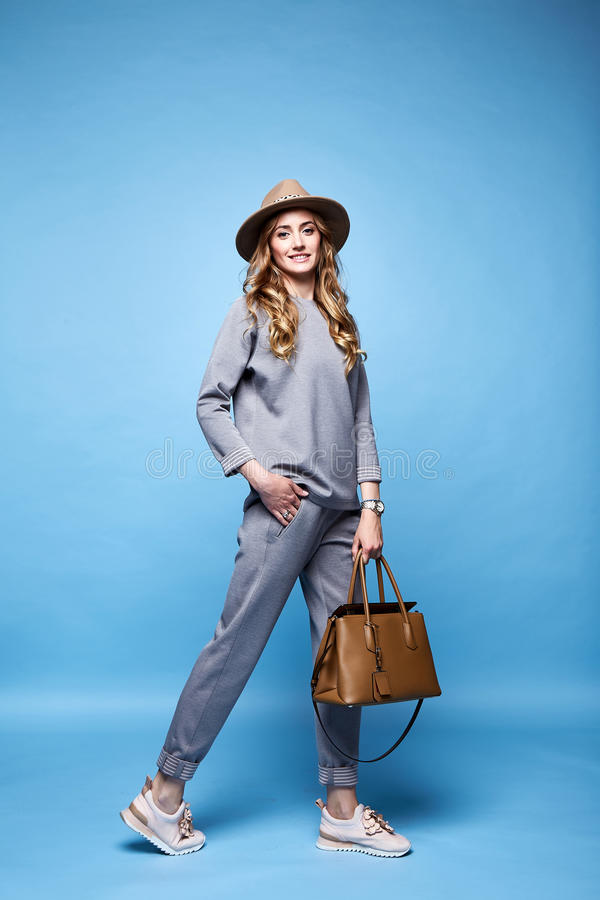 Beautiful woman glamour fashion style wear clothes casual s royalty free stock image
