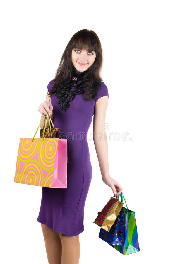 Download Beautiful Woman With Shoping Bags. Stock Image - Image: 12633875