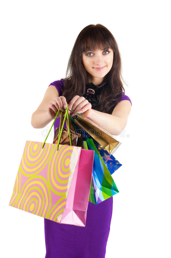 Beautiful woman with shoping bags. stock photo