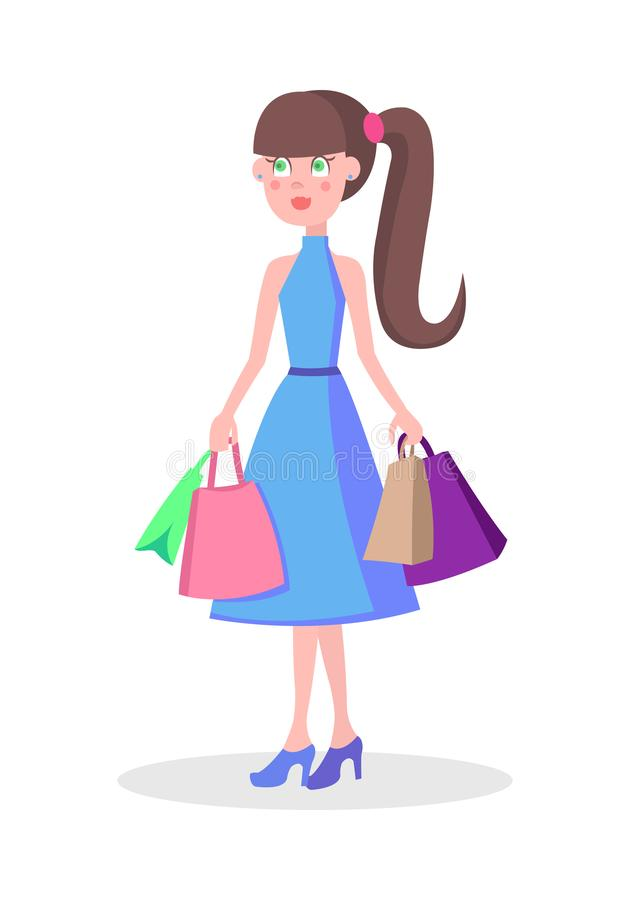 Beautiful Woman Shopping Cartoon Flat Vector Icon. Beautiful woman with colorful paper bags vector illustration. Holiday shopping flat concept isolated on white stock illustration