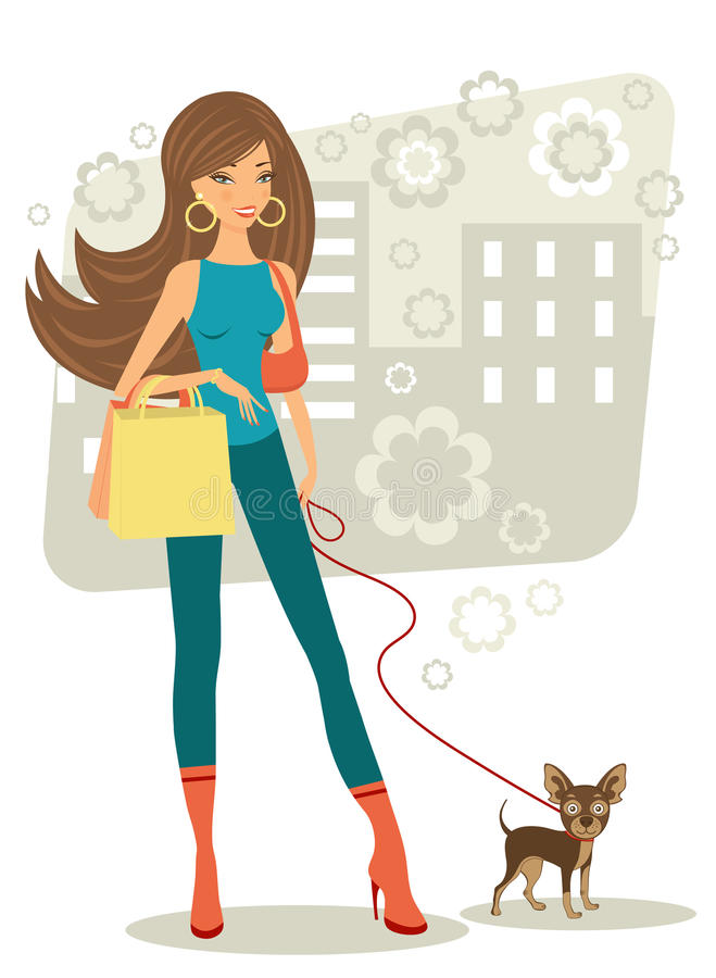 Beautiful woman shopping with little dog royalty free illustration