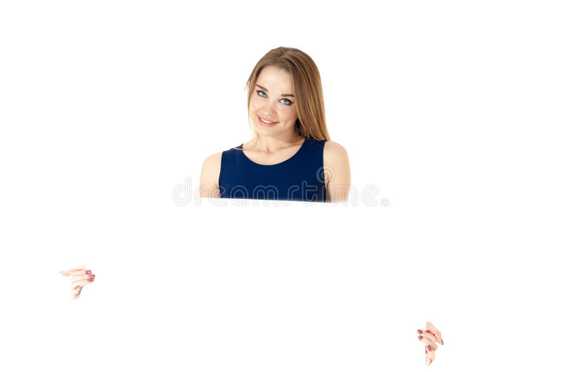 Beautiful woman showing empty placard, isolated on white background/ space for text. stock images
