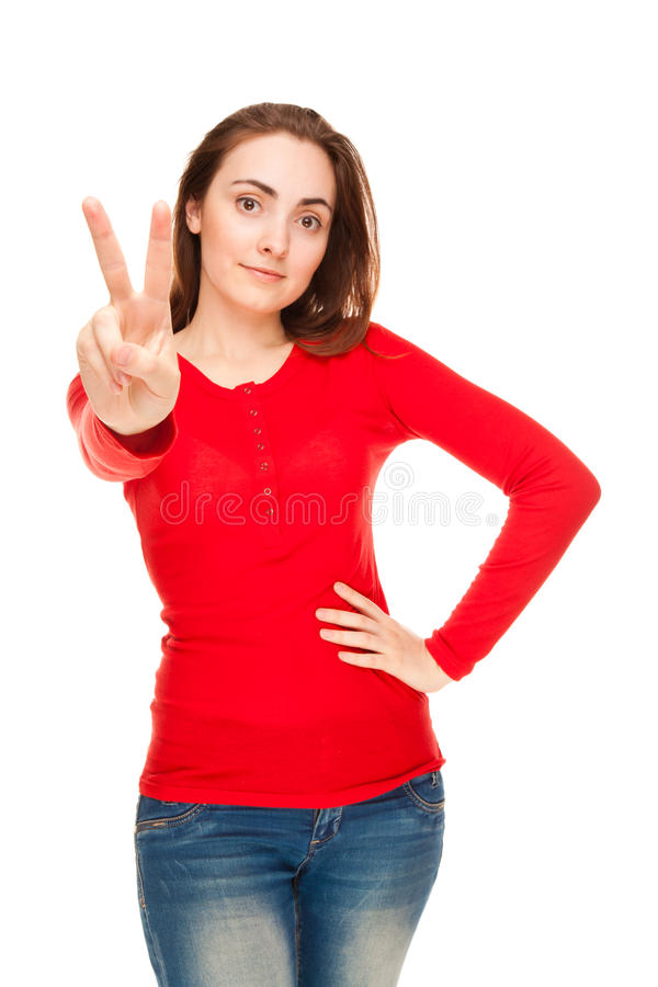 Download Beautiful Woman Showing Victory Sign Or Peace Stock Photo - Image of expressing, background: 27112958