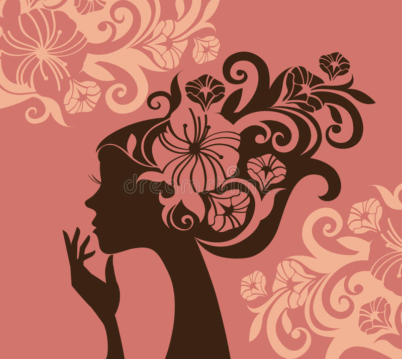 Download Beautiful woman silhouette stock vector. Image of modern - 10261518
