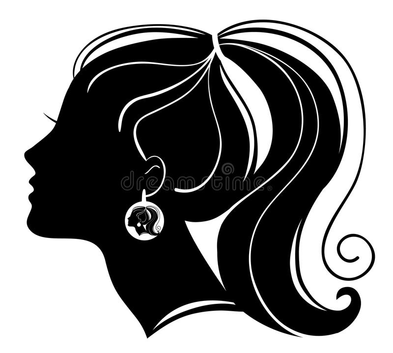 Beautiful woman silhouette stock illustration