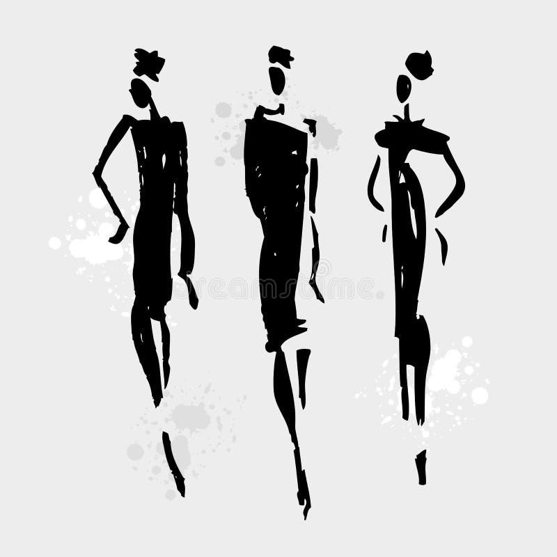 Beautiful Woman silhouette. Hand drawn fashion illustration vector illustration