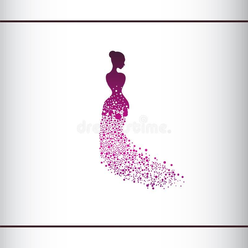 Beautiful woman silhouette. Vector illustration of dot work woman beauty salon design. Beautiful Bride. Logo design template stock illustration