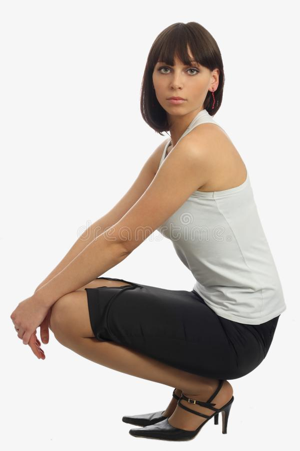 Download Beautiful Woman Siting On Her Haunches Stock Photo - Image of professional, face: 8856384