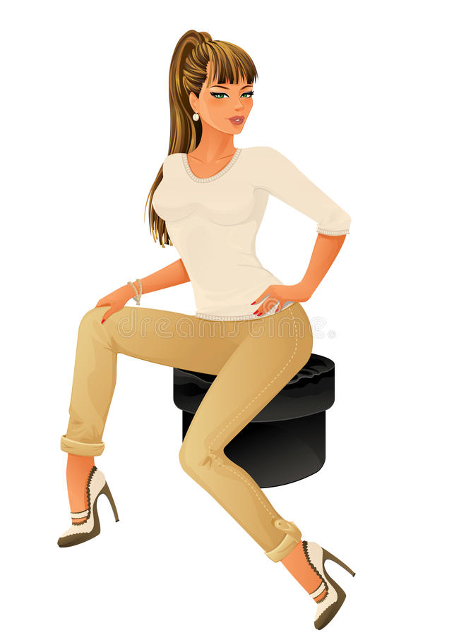 Beautiful woman sitting on chair royalty free illustration