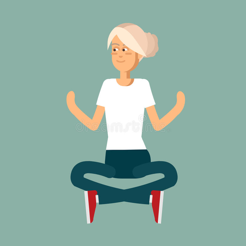 Beautiful woman sitting in poses of yoga. stock illustration