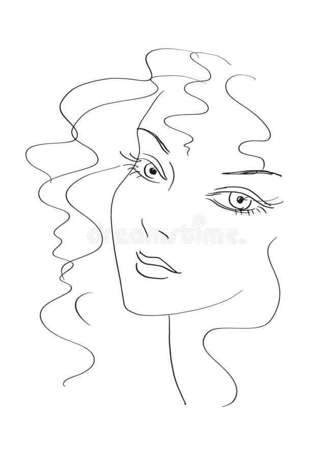 Beautiful woman sketch stock images