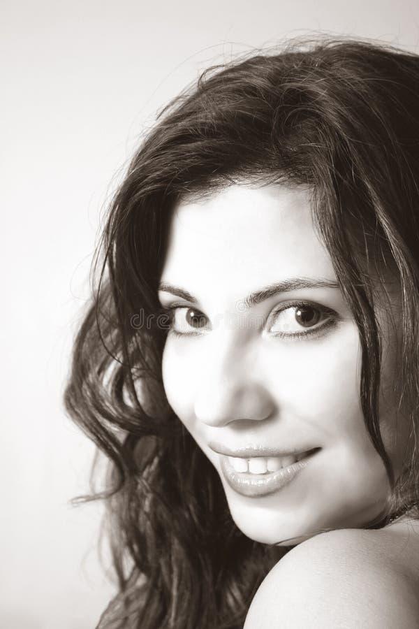 Beautiful woman smile. Glamorous woman smiles (duotone stock images