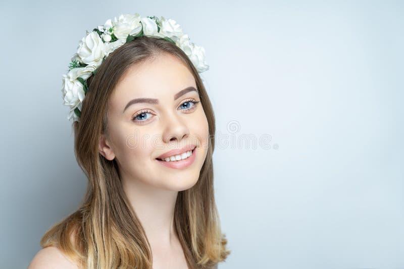 Beautiful woman smile royalty free stock photo