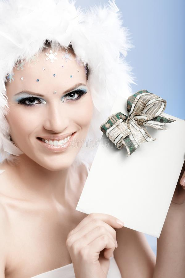 Download Beautiful Woman Smiling With Fancy Present Stock Image - Image: 26974007