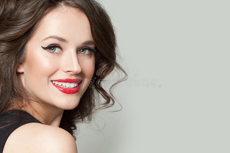Beautiful woman smiling portrait stock images