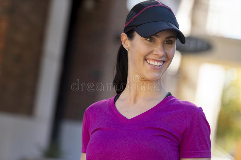 Beautiful Woman Smiling After Workout stock images