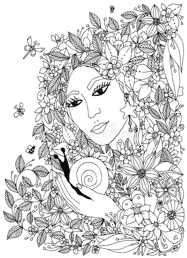 Beautiful woman with snail in the colors. Design for coloring book adults. stock illustration