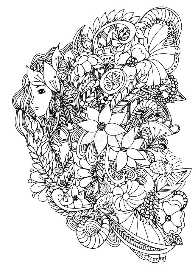 Beautiful woman with snail. Design for coloring book adults. vector illustration