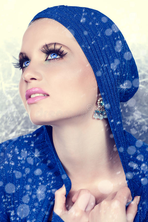 Beautiful woman in snow royalty free stock photos