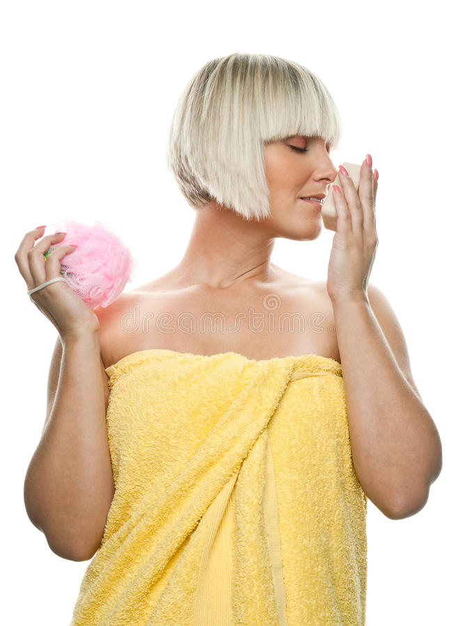 Download Beautiful Woman With Soap And Sponge Royalty Free Stock Photos - Image: 21427228