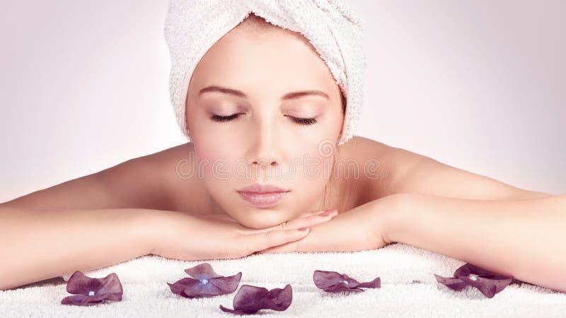 Beautiful woman at spa royalty free stock images