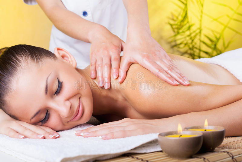 Beautiful woman in the spa salon royalty free stock images