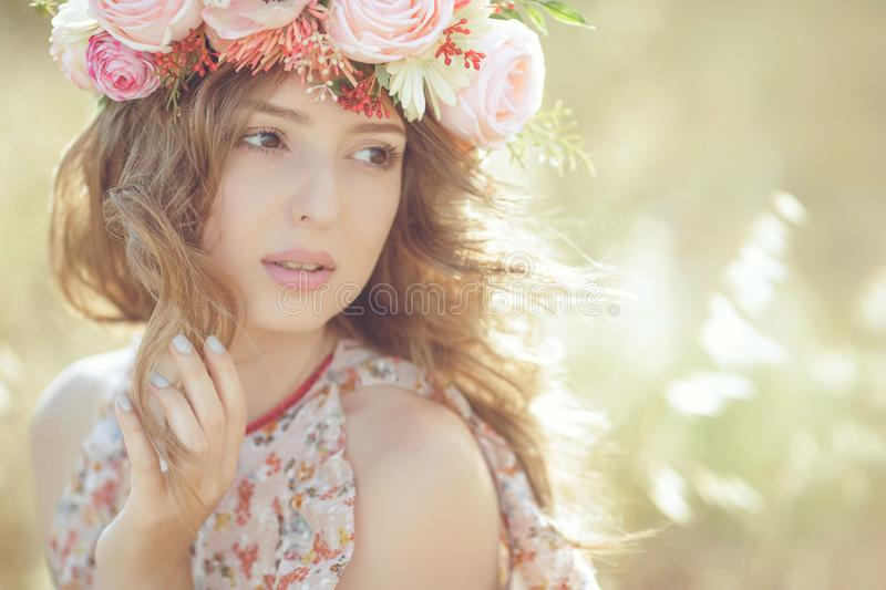 Beautiful woman in spring stock photography