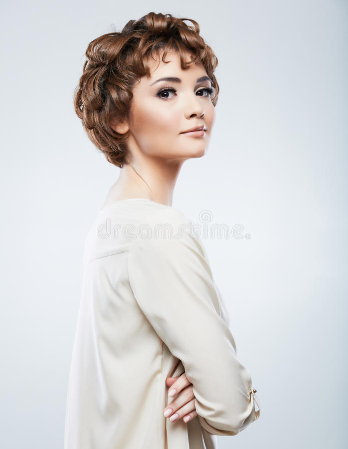 Download Beautiful Woman Standing Against Studio Background Stock Image - Image: 43455253