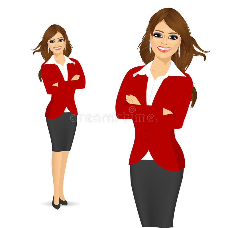 Beautiful woman standing with arms folded vector illustration