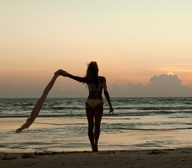 Beautiful Woman Face Over Beach Sunset Stock Image: Beautiful Woman Standing On The Beach At Sunset Stock