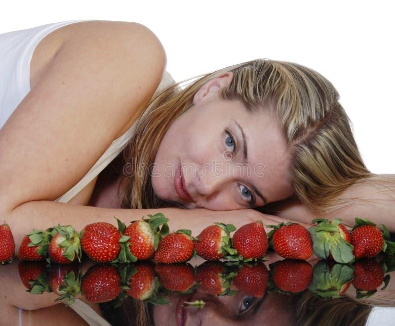 Beautiful Woman With Strawberries Stock Photo