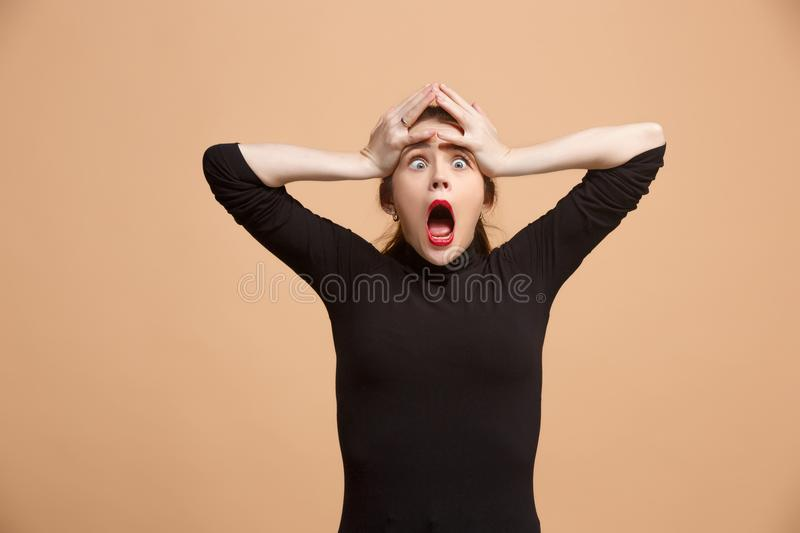 Beautiful woman in stress isolated on pastel royalty free stock photo