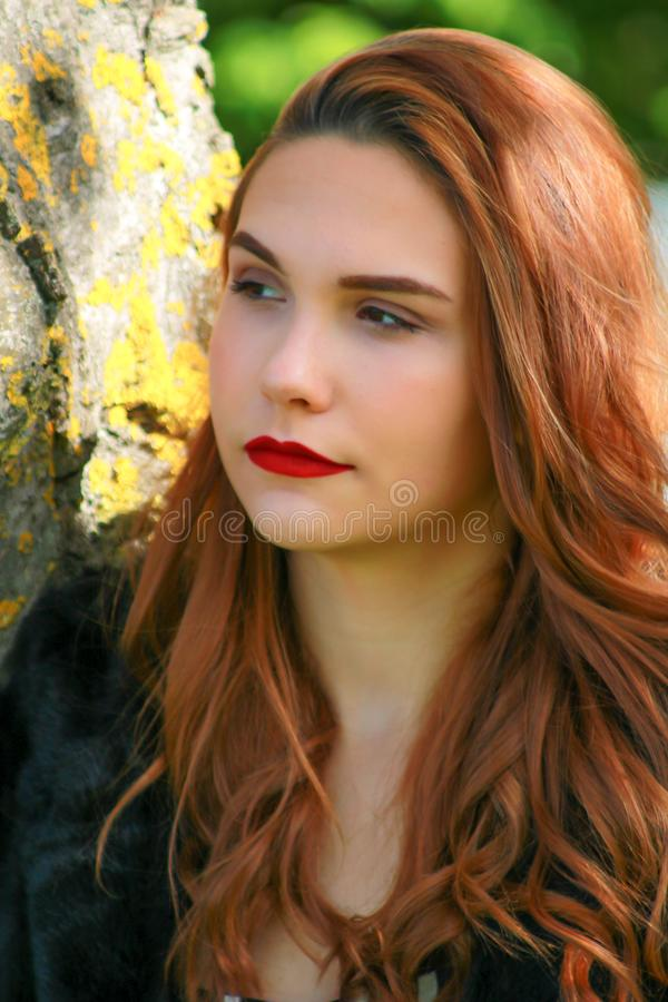 Beautiful woman style Russian with pretty eyes and red lipstick royalty free stock photography