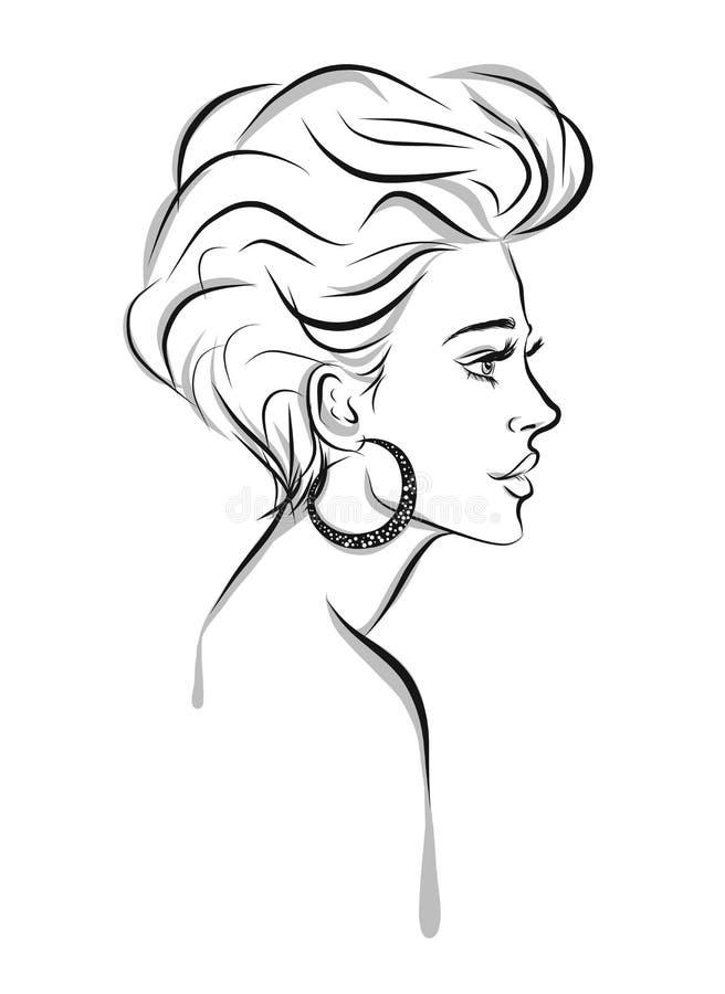 Beautiful woman with a stylish earring line art illustration royalty free illustration